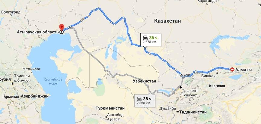 Маршрут автовоза Алматы Атырау